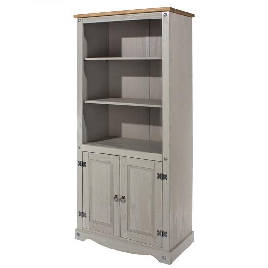 Dove Wooden Bookcase In Grey With 2 Doors