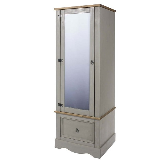 Dove Wooden Mirrored Wardrobe In Grey With 1 Door