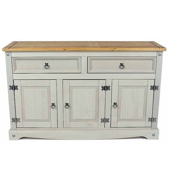 Dove Wooden Sideboard In Grey With 3 Doors And 2 Drawers