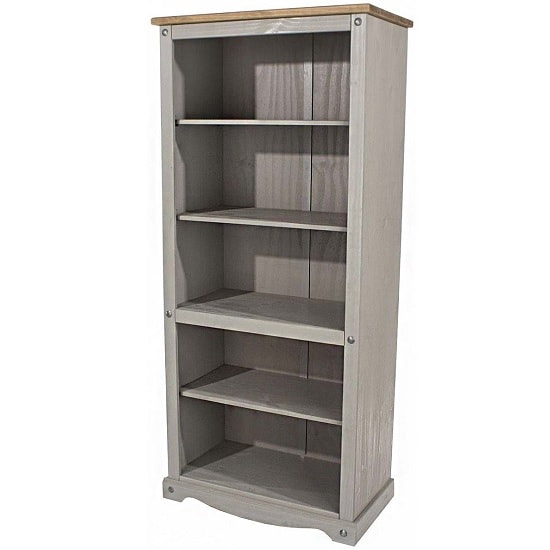 Dove Wooden Tall Bookcase In Grey With 4 Shelf