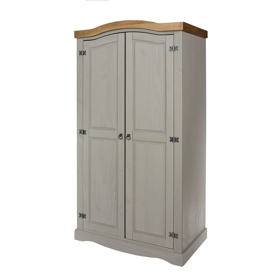Dove Wooden Wardrobe In Grey With 2 Doors