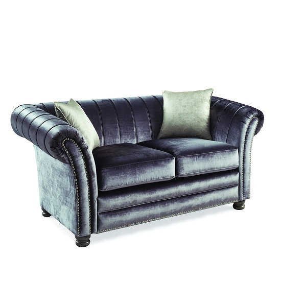 Image of Dovern Fabric 2 Seater Sofa In Charcoal With Limed Oak Bun Feet
