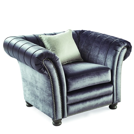 Dovern Sofa Chair In Charcoal With Limed Oak Bun Feet