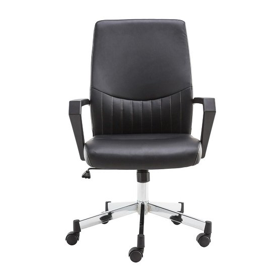 Downing Faux Leather office Chair In Black