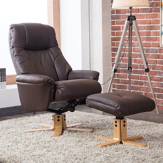 View Dox plush swivel recliner chair and footstool in brown