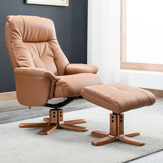 View Dox plush swivel recliner chair and footstool in tan