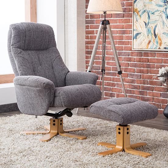 View Dox fabric swivel recliner chair in lisbon grey