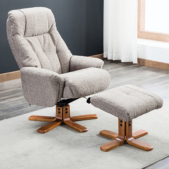 Dox Fabric Swivel Recliner Chair In Lisbon Mocha_2