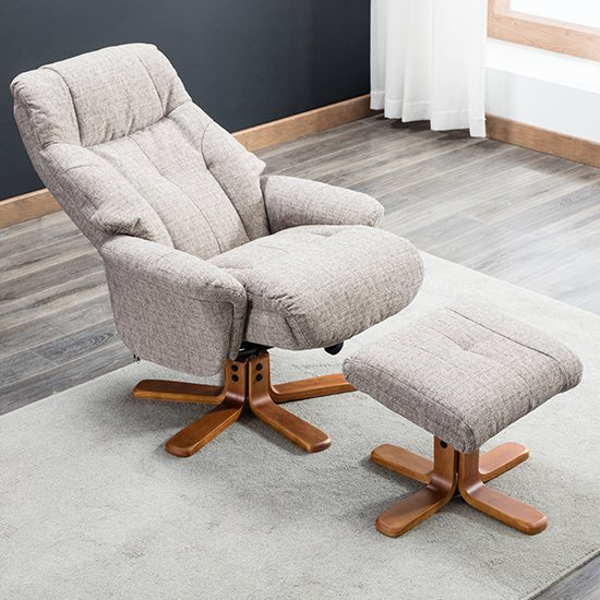 Dox Fabric Swivel Recliner Chair In Lisbon Mocha_3