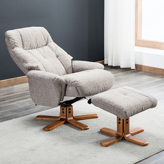 Dox Fabric Swivel Recliner Chair In Lisbon Mocha_4