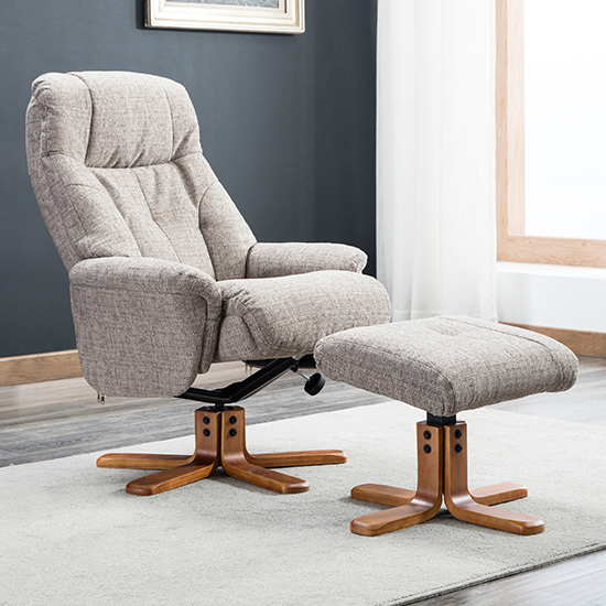 Dox Fabric Swivel Recliner Chair In Lisbon Mocha_1
