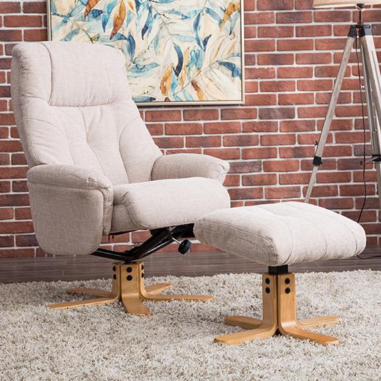 View Dox fabric swivel recliner chair in lisbon wheat