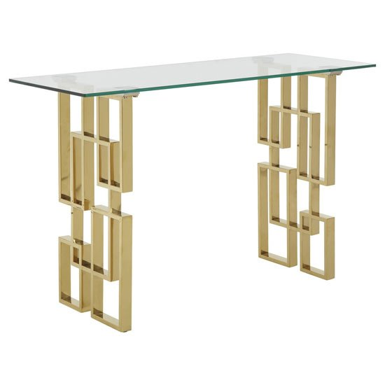 Doyennes Glass Console Table In Clear With Gold Metal Base