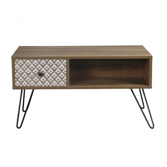 Draco Coffee Table In Wooden Effect With Black Wired Legs