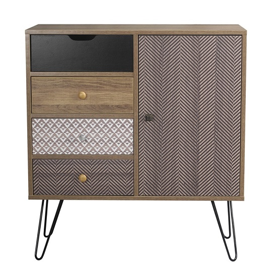 Draco Sideboard In Wooden Effect With Black Wired Legs