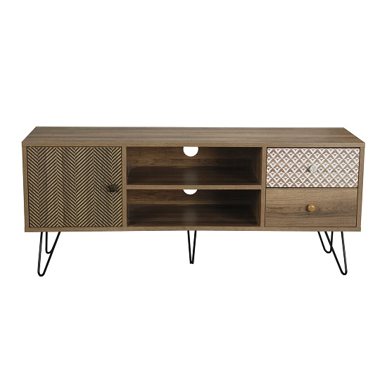 Draco TV Stand In Wooden Effect With Black Wired Legs_1