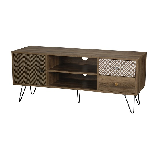 Draco TV Stand In Wooden Effect With Black Wired Legs_2