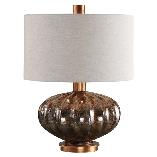 Dragley Table Lamp In Metallic Rust Bronze Mercury Glass