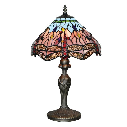 Dragonfly Antique Brass Table Lamp With Handmade Glass