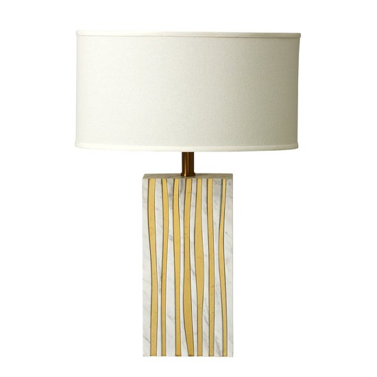 Draper Table Lamp With Waves Of Brass Details