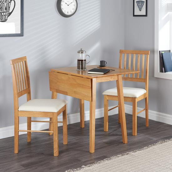 Drop Leaf Wooden Dining Set In Oak With 2 Chairs_2