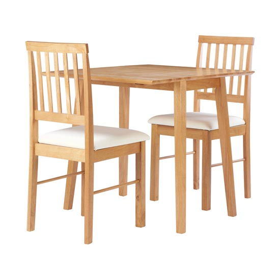 Drop Leaf Wooden Dining Set In Oak With 2 Chairs_3