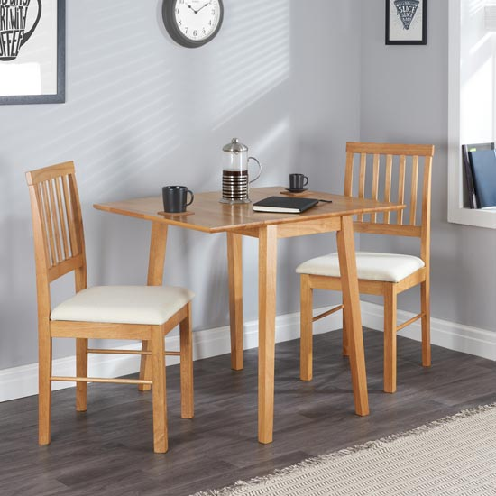 Drop Leaf Wooden Dining Set In Oak With 2 Chairs_1