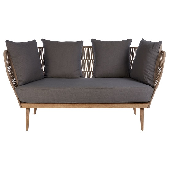 Chechia Wooden Three Seater Sofa With Grey Upholstered Seat