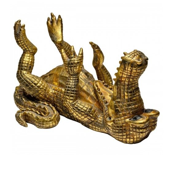 Drunken Crocodile Beer Bottle Holder In Gold_2