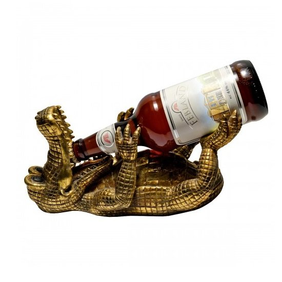 Drunken Crocodile Beer Bottle Holder In Gold_3