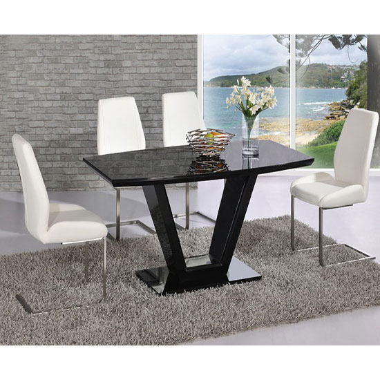 ventura v rectangle shaped black dining table and 6 chairs. Black Bedroom Furniture Sets. Home Design Ideas