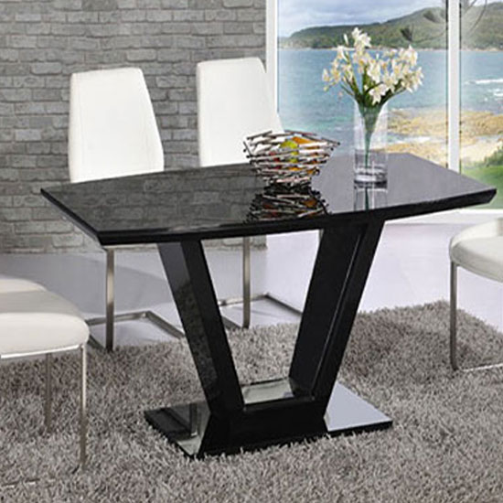 Ventura v rectangle shaped black dining table and chairs
