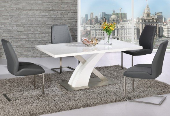 Avici Y Shaped High Gloss White Dining Table And 4 Dining Chairs Part 11