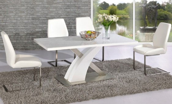 Avici Y Shaped High Gloss White And Chrome Dining Table 4 Chairs