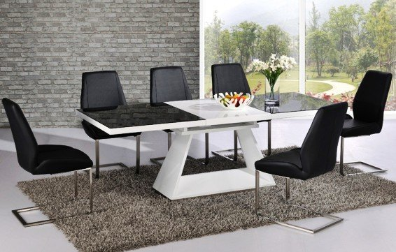 Amsterdam Glass Extending Dining Set In Gloss White And Black