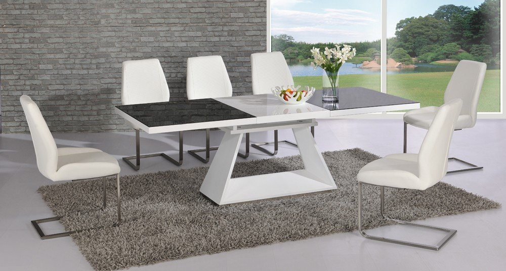 Amsterdam White Gl And Gloss Extending Dining Table 6 Chairs 7