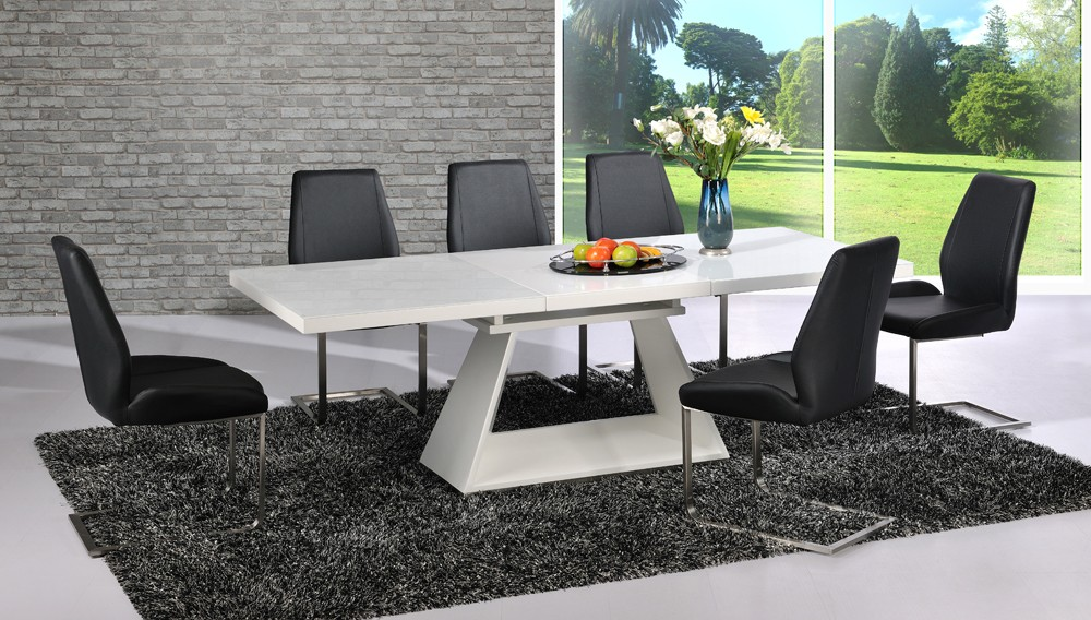 Amsterdam Extending Dining Table In White Gloss And 6 Chairs
