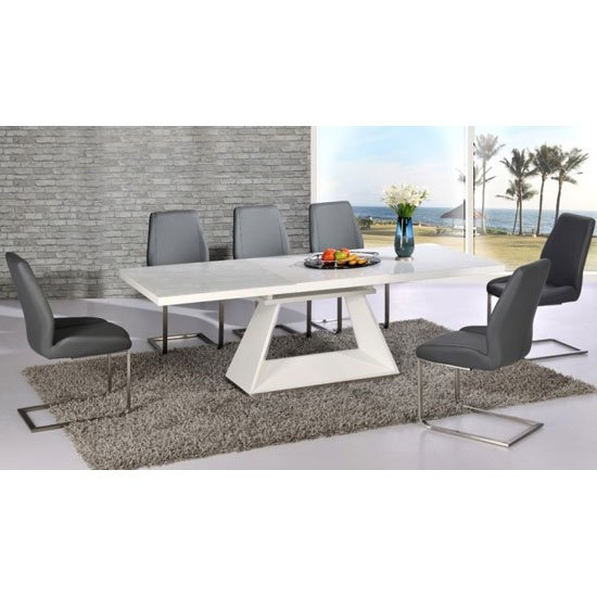 Amsterdam Extending Glass And White Gloss Dining Table Set