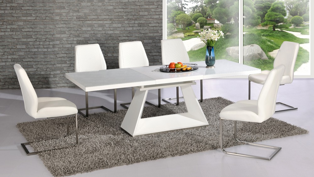 Amsterdam White Glass And Gloss Extending Dining Table 6