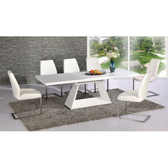 Amsterdam White Glass And Gloss Extending Dining Table 6 Chairs