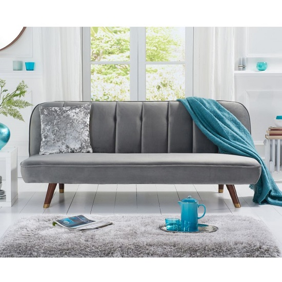 Duclos Velvet Sofa Bed In Grey With Solid Wood Legs