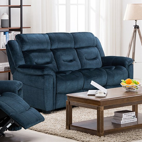 Dudley Fabric Upholstered Fixed 3 Seater Sofa In Nett Blue