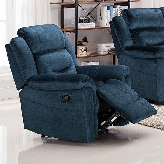 Product photograph showing Dudley Fabric Upholstered Recliner Chair In Nett Blue