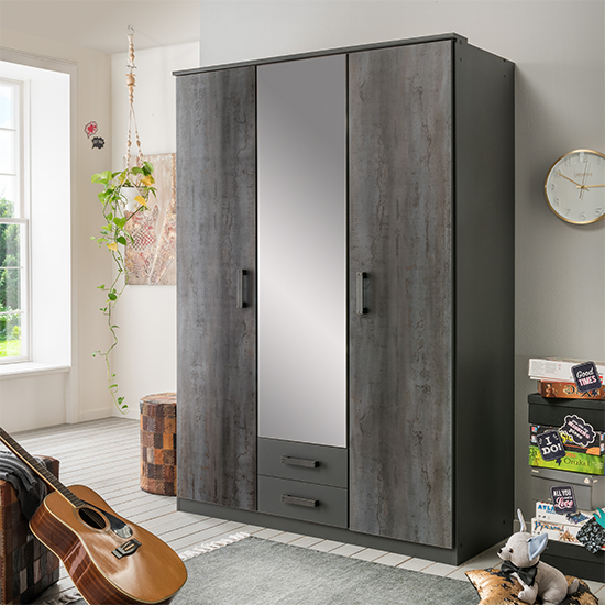 Duisburg Wooden Wardrobe In Graphite With 1 Mirror And 2 Doors