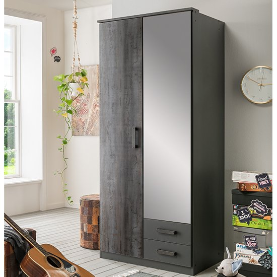 Duisburg Wooden Wardrobe In Graphite With 1 Mirror And 2 Drawers