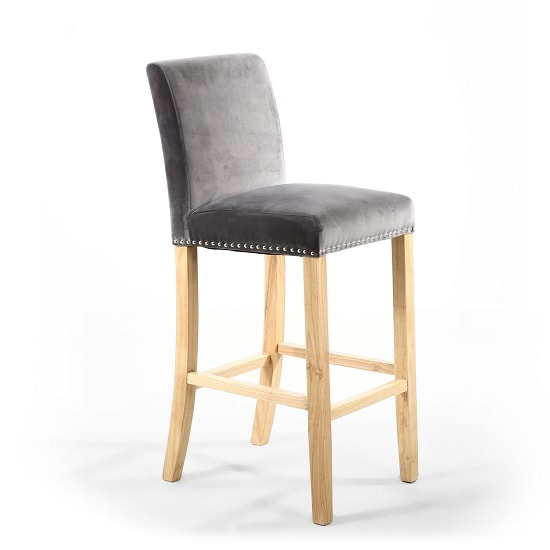 Dunbar Bar Chair In Grey Brushed Velvet With Chrome Ring