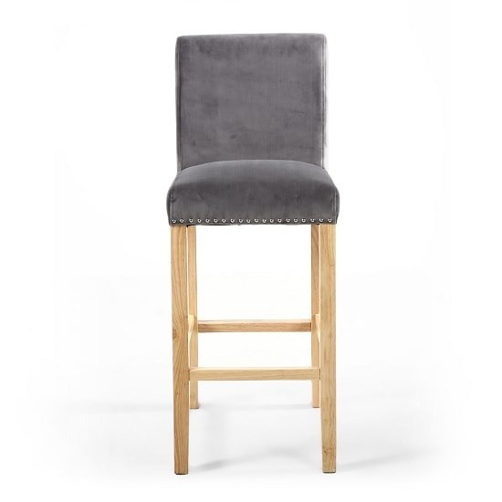 Dunbar Bar Chair In Grey Brushed Velvet With Chrome Ring_4