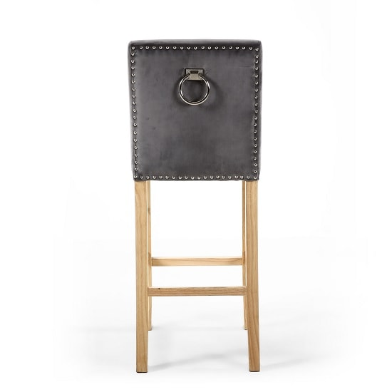 Dunbar Bar Chair In Grey Brushed Velvet With Chrome Ring_5
