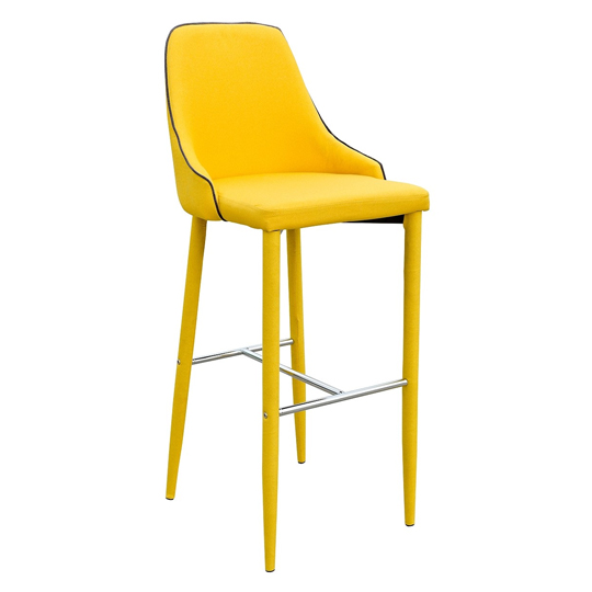 Duncan Yellow Fabric Bar Stool With Metal Foot Rest_1
