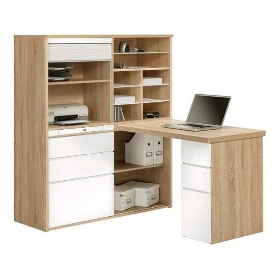 Dundas Computer Desk In Sonoma Oak and White High Gloss